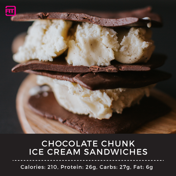 chocolate chunk ice cream sandwich with ideallean protein bars