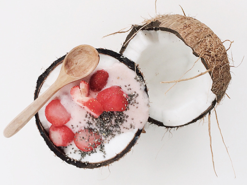 coconut with berries