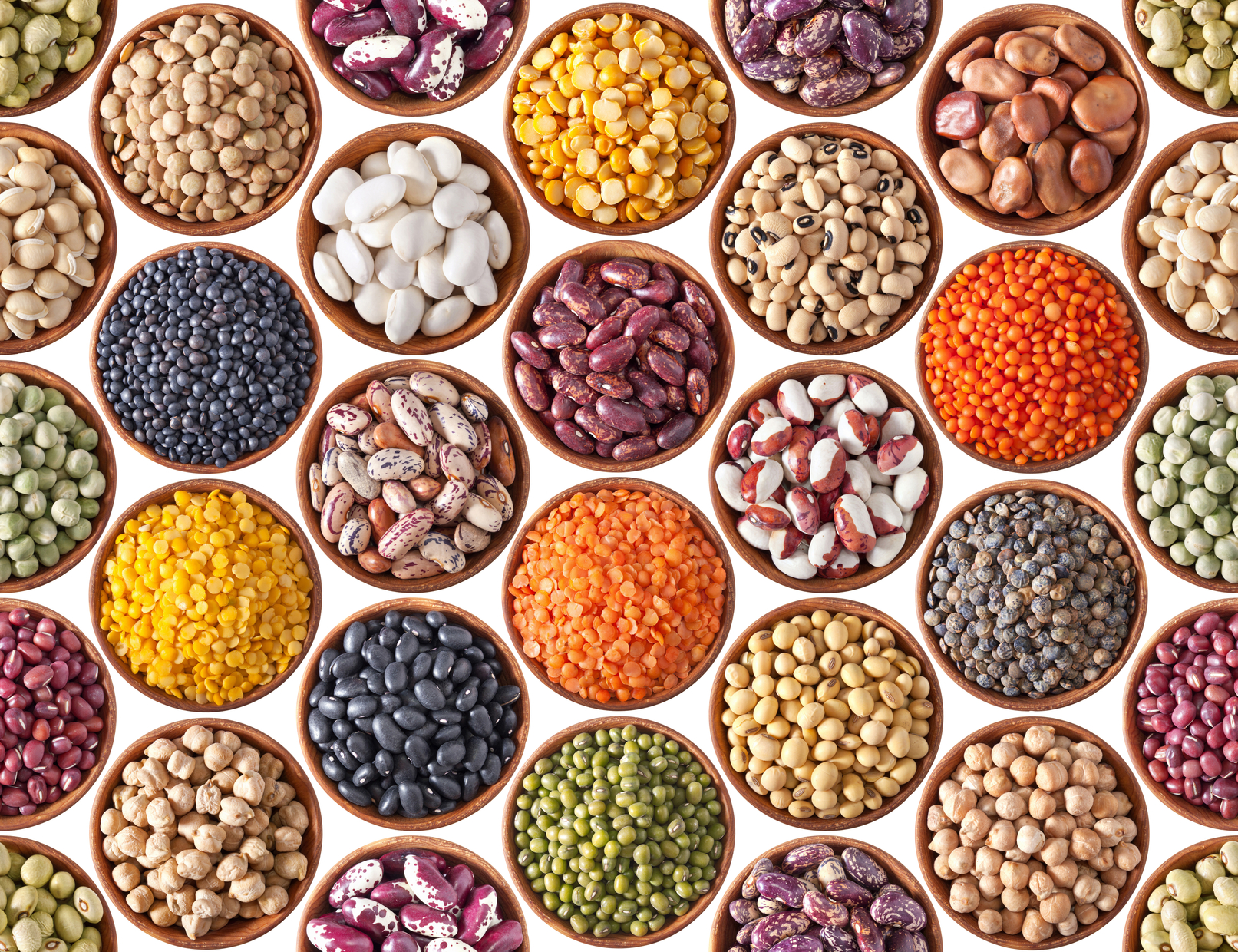 Seamless texture with legumes on white background