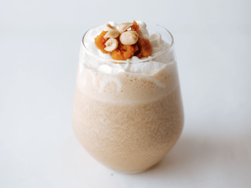 A healthy pumpkin peanut butter smoothie