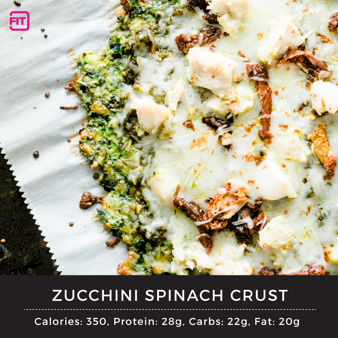 zucchini pizza crust with cheese sun dried tomatoes, chicken and cheese