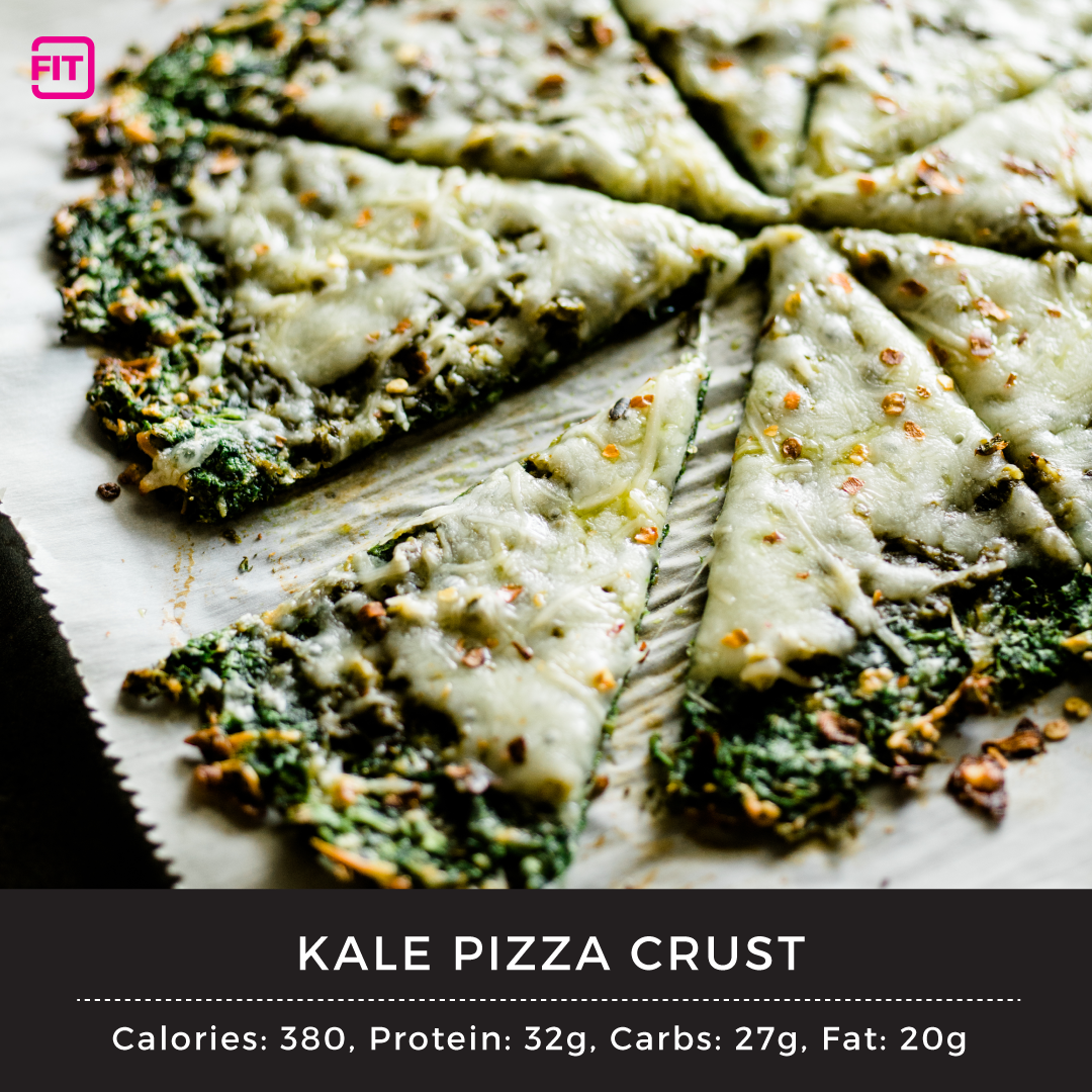kale pizza crust with cheese on top