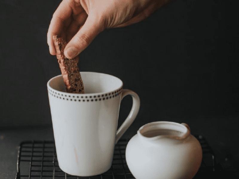 A mint chocolate biscotti