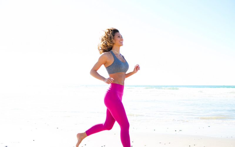 karina running on the beach