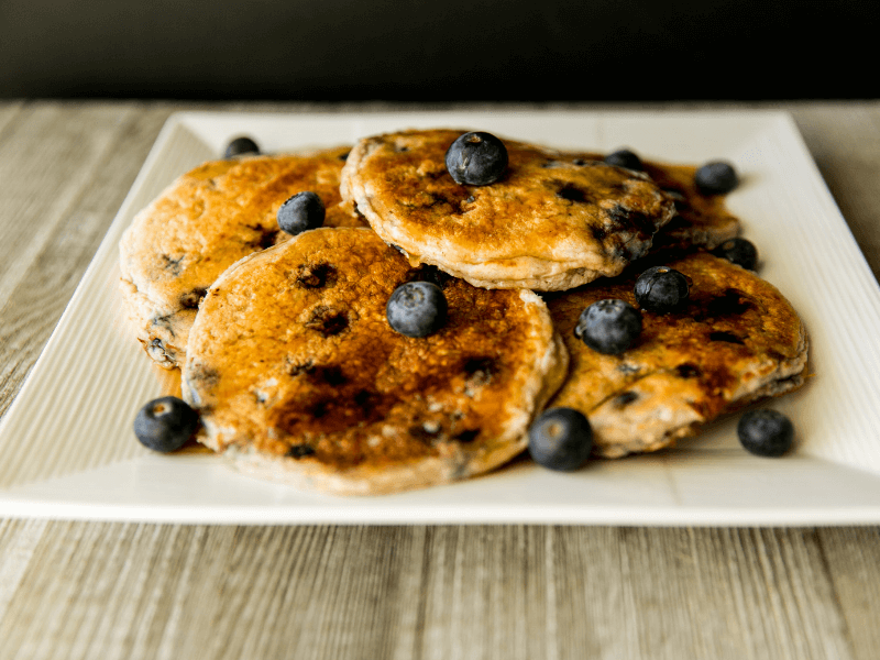 Some healthy blueberry protein pancakes