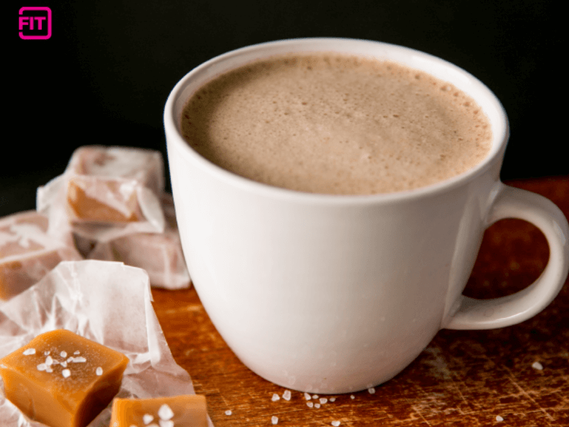 A healthy salted caramel mocha coffee