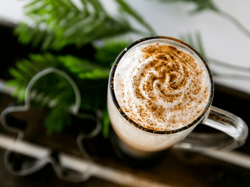 a high-protein gingerbread latte