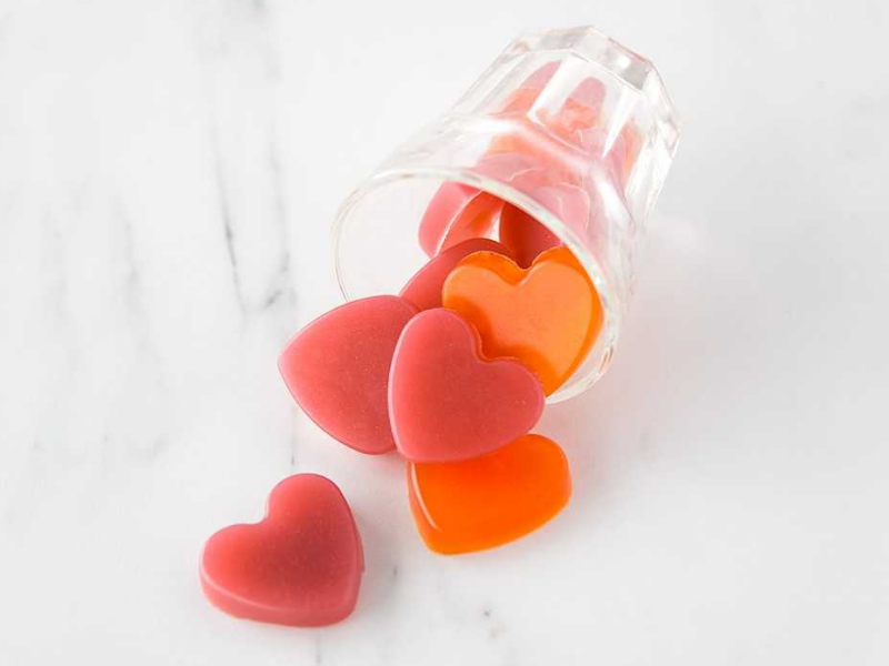 Some healthy bcaa heart shaped gummies