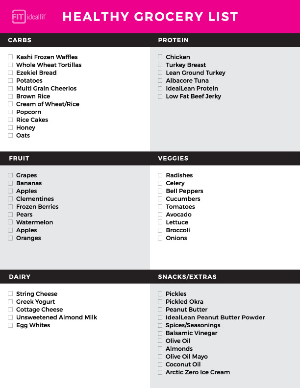 grocery list for protein diet