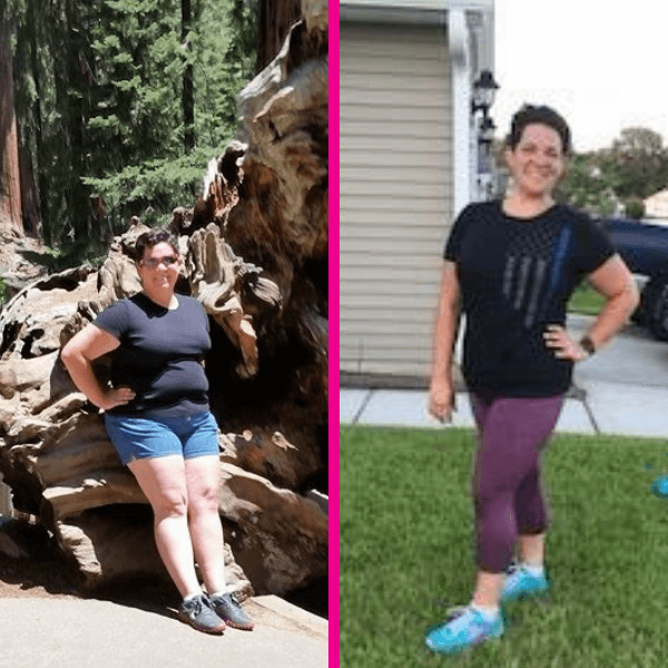 A womans before and after weight loss transformation