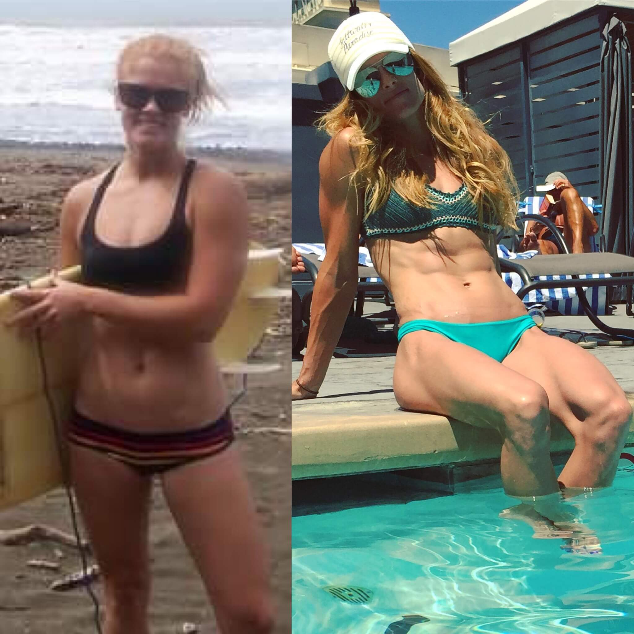 A woman's before and after keto transformation