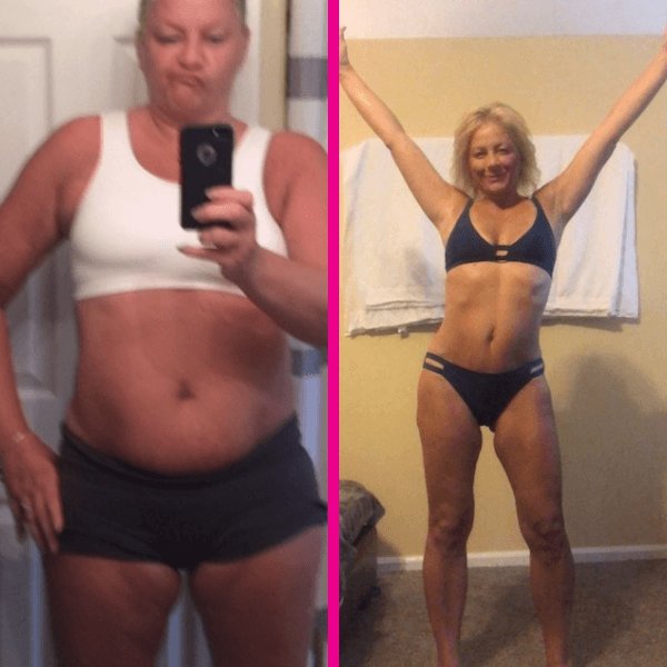 A woman's before and after fitness transformation