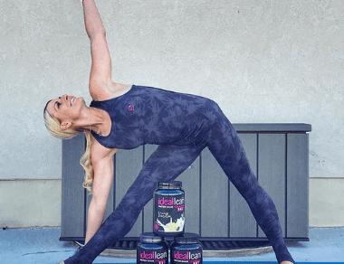 Heather Jenson practicing yoga
