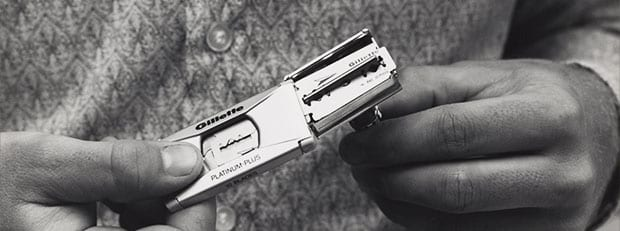 The first double-edged safety razor blade from Gillette.