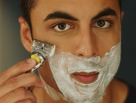 Man shaving with Gillette Fusion ProShield