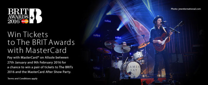 Win two tickets to The BRIT Awards with MasterCard Terms and Conditions