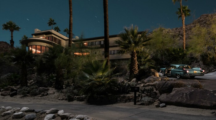 Tom Blachford Midnight Modern: A classic car on a ledge overlooking a futuristic home on the beach front.