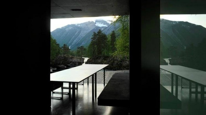 The Juvet Hotel Norway: A view from a room out on to the trees and mountains.