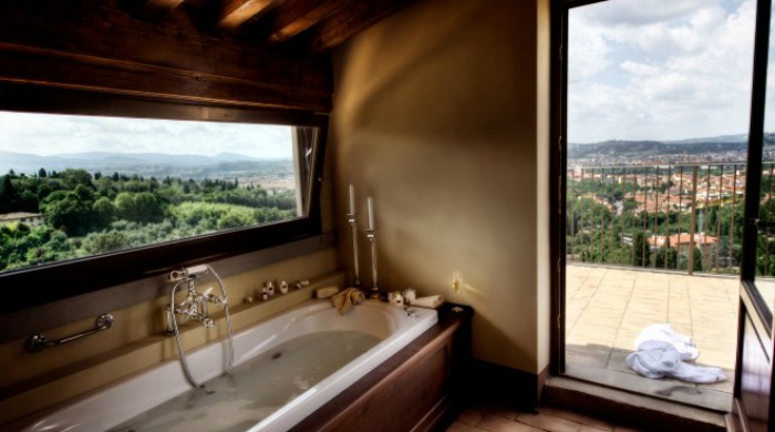 Il Salviatino, Florence: A view of the surrounding hills from a balcony attached to the bathroom of one of the rooms.