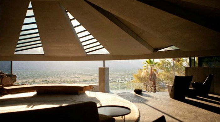 A view from the open circular room in the Elrod House looking out onto the Palm Springs landscape.