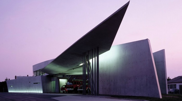 The Vitra Fire Station designed by Zaha Hadid.