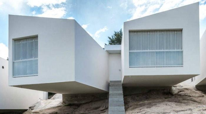 A close up of one of the Five Houses by Carlos Ciravegna.
