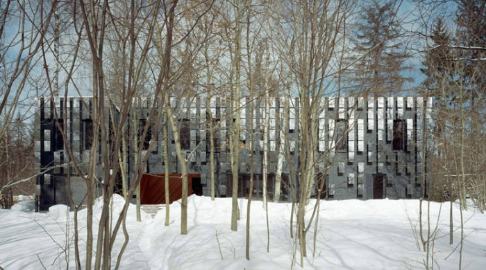 The front of Boris Bernaskoni's Villa Mirror Mongayt hidden behind bare trees growing from a snow-covered ground.