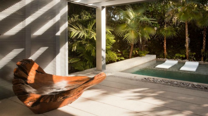 A natural looking chair made from a large piece of driftwood by the edge of the pool at a minimal Miami beach house.