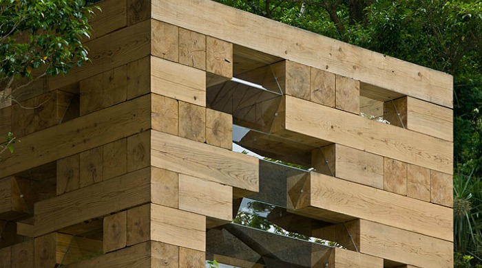A close up of one of the walls of Sou Fujimoto's Wooden House.