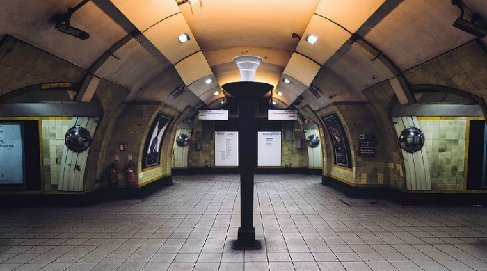 An empty pathway between tube stops in the London Underground series by Mark Cornick.