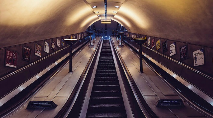 A view up an empty escalator in the London Underground series by Mark Cornick.