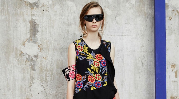 A model wearing a flower patterned MSGM top.