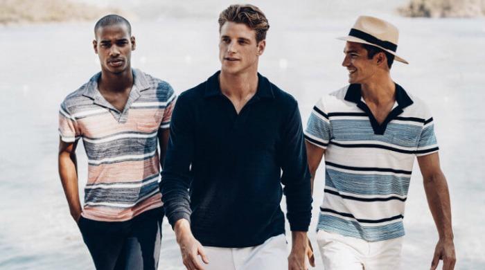 Three male models wearing Orlebar Brown clothing.