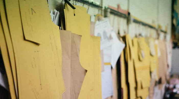 Templates hanging up at the Tripl Stitched factory.