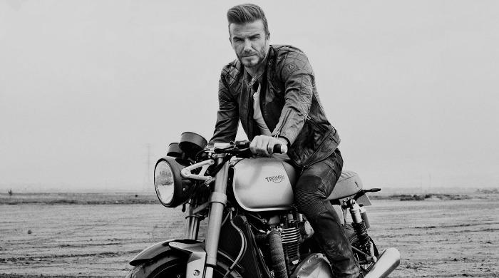 David Beckham on a motorcycle.