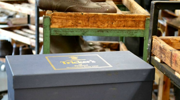 A shoe box at the Tricker's factory.