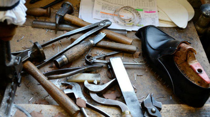 A selection of shoe making tools at the Tricker's factory.