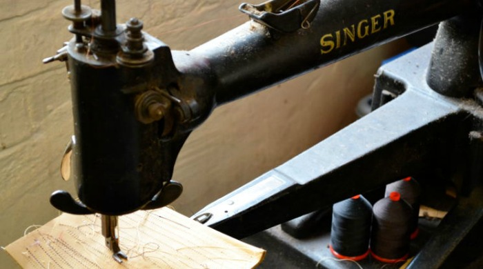 An old Signer sewing machine at the Tricker's factory.