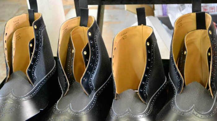 Boots being made at the Tricker's factory.