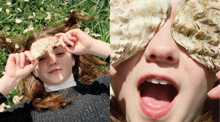 Maisie Williams holding oyster shells in FFF Zine.