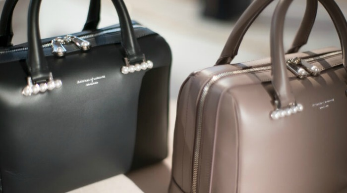 Two handbags at the Aspinal of London AW16 presentation.