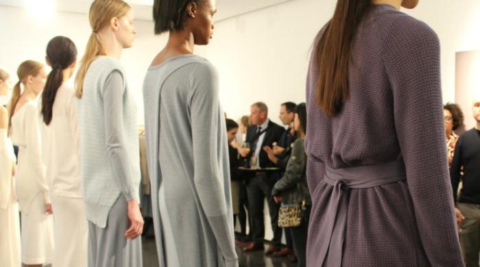 Models wearing John Smedley knitwear.