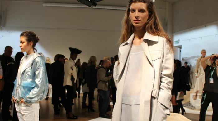 Models in the Belstaff SS16 London Fashion Week presentation.