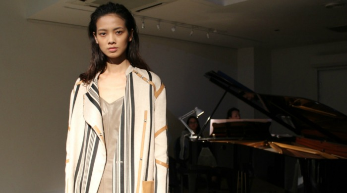 A model in the Belstaff SS16 London Fashion Week presentation.