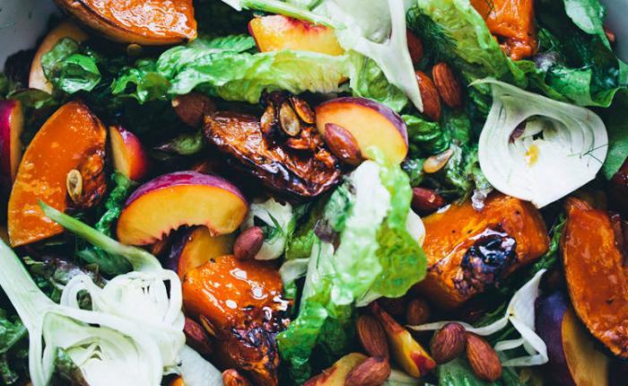 Roasted Pumpkin Peach Salad