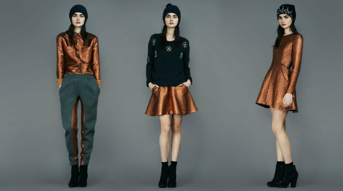 A model wearing metallic, copper-coloured Markus Lupfer clothing.