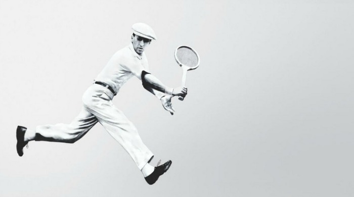 René Lacoste playing tennis.