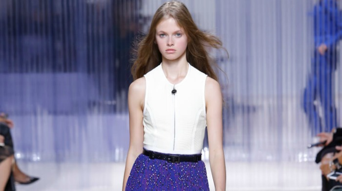 A model wearing Carven clothing.