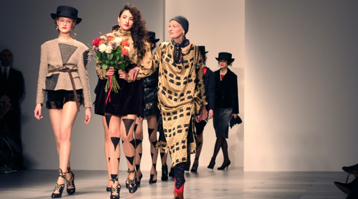 Vivienne Westwood on the catwalk with the models at London Fashion Week AW14.
