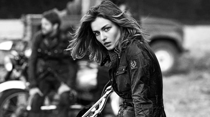 A model wearing a Belstaff jacket.
